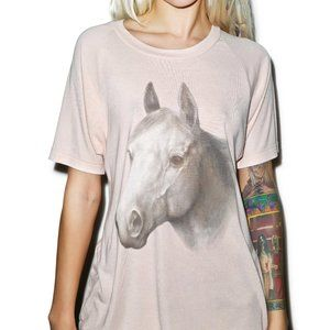 Wildfox Horse Lesson Tshirt Oversized Graphic Tee Ivory